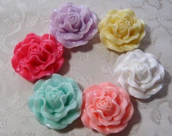 Drilled Large Peony Rose Flower Beads With Hole Lucite Acrylic 31mm Choose Your Colors 909