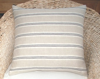 Kate Forman - Indigo Stripe - Linen Cushion / Throw Pillow Cover - UK Designer - Blue & Natural Linen Woven Ticking Stripe - 20 x 20