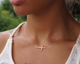 Sideways Cross Necklace -  Horizontal Cross with CZ Stones  - Sterling Silver, 14K Rose Or 14K Yellow Gold Over Sterling Silver