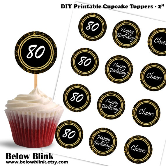 80th Birthday Cupcake Toppers Cheers to Eighty Printable