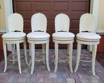 Vintage Shellback Barstools | Set of Four | Hollywood Regency | Palm Beach Chic | Coastal | Beach house