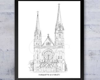 Marquette University, Fine Art Print, Hand Drawn, Milwaukee, State, Tech, College Signed Art ( Sizes  5 x 7, 8 x 10, 13 x 19, 16 x 20)