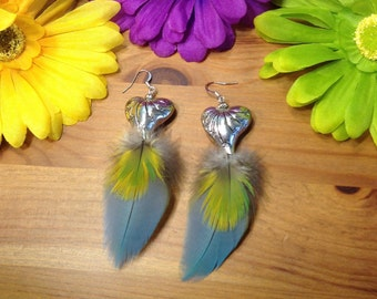 Feather Earrings Real Natural Macaw Parrot Feathers Cruelty Free Feather Jewelry Boho Handcrafted Feather Accessory Sterling Silver Heart
