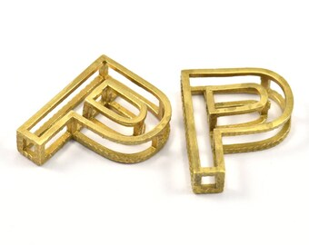 P Letter Pendants, 2 Raw Brass P Letter Alphabets, Initials, Uppercase, Letter Initial Pendant for Personalized Necklaces