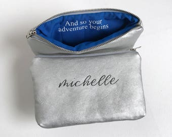 Graduation Day Gift for Her Class of 2017. Personalized Name Makeup Bag. And Off She Went To Change The World. School Spirit Gift