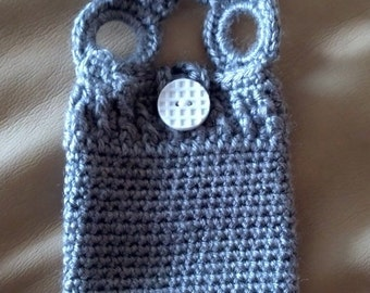 Grey cell phone cover with handle