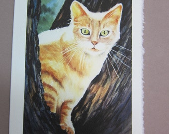 Cat Tabby Watercolor print 5 x 7 note card watercolorsNmore greeting card paper goods