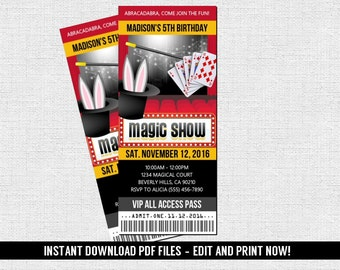 Magic Show Ticket Invitation Birthday Party (Instant Download) Editable and Printable PDF Files - Magical
