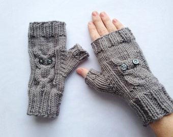 Owl Gloves Knit Pattern