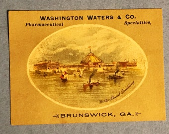 Victorian Trade Card 1800s, Harbor View With Ships And Sailboats, Washington Waters and Co, Pharmaceuticals, A Wonderful Collectible