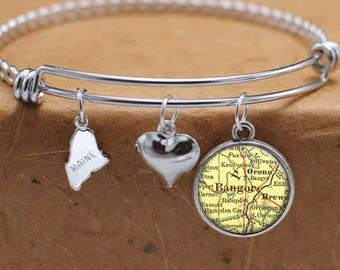 Bangor Maine Map Charm Bracelet State of ME Bangle Cuff Bracelet Vintage Map Jewelry Stainless Steel Bracelet