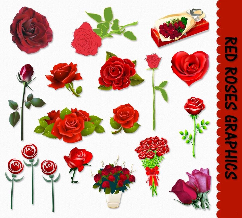 Red Roses Clip Art Graphics Flower Rose Clipart Valentines for Vector Rose Flower Png  56mzq