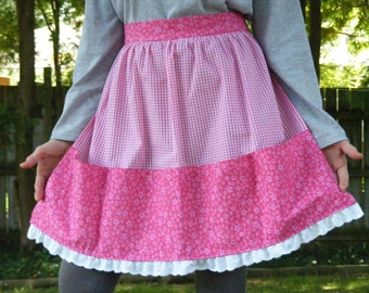Pink Floral and Gingham Vintage Style Apron