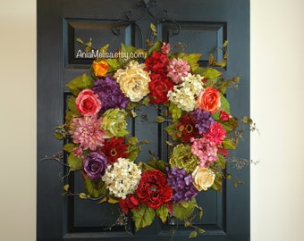 spring wreaths for front door wreaths 30'' summer wreath outdoor wreath Mother's day gift ideas front door wreaths decorations wreaths
