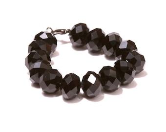 Black crystal beaded bracelet