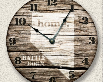 "10.5"" Wall Clock - NEVADA Home State Wall CLOCK  - Barn Boards pattern  - Battle Born - rustic cabin country wall home decor"