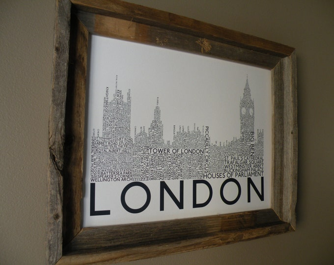 London Big Ben and Houses of Parliament Word Art Print (White & Blue) - Unframed