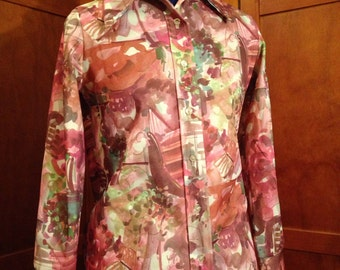 Cute Seventies Polyester Knit Pink, Green, and Dark Mauve Shirt
