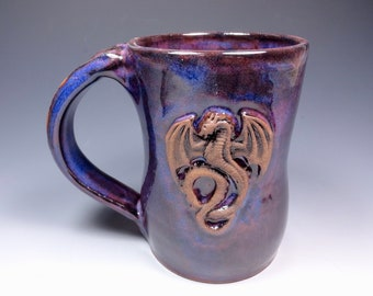 Handmade Pottery Mug Ceramic Stoneware Dragon Purple Blue Glaze