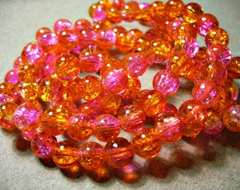 Crackle Glass Beads Pink and Orange 8MM