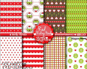 Red Riding Hood, Digital Paper, 80%OFF, COMMERCIAL USE, Printable Paper, Planner Accssories, Cute Paper, Kawaii Digital Paper, Pattern