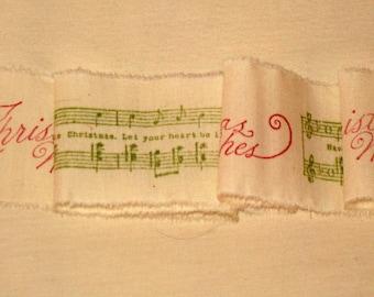 French Vintage Handmade Muslin Ribbon Merry Christmas Music Notes ECS