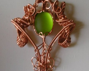 Lime and copper pendant