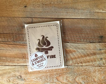 Rustic Campfire Invitation - Outdoors Camping Bonfire Camp Out - 6 Fill-In Invites with Envelopes - Ready to Ship