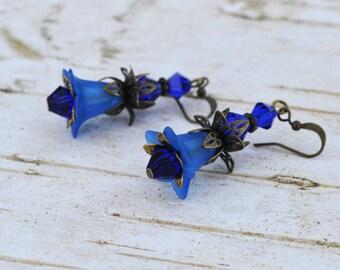 SALE - Royal Blue Bell Flower Earrings -Vintage Inspired - Lucite Flower Earrings