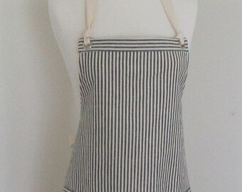 Full  Apron Woman Hemp apron  hemp Organic Cotton apron  Indigo  Stripes work apron custom made