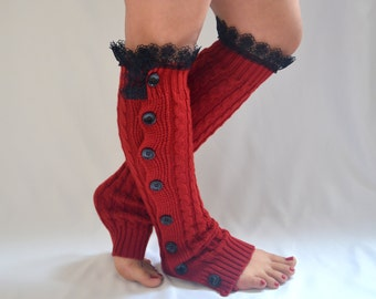 Red leg warmers women/Cable knit leg warmers/Buttons socks/Boot socks/Boot cuffs/Over the knee socks/Gift/Plus size/Winter acessory