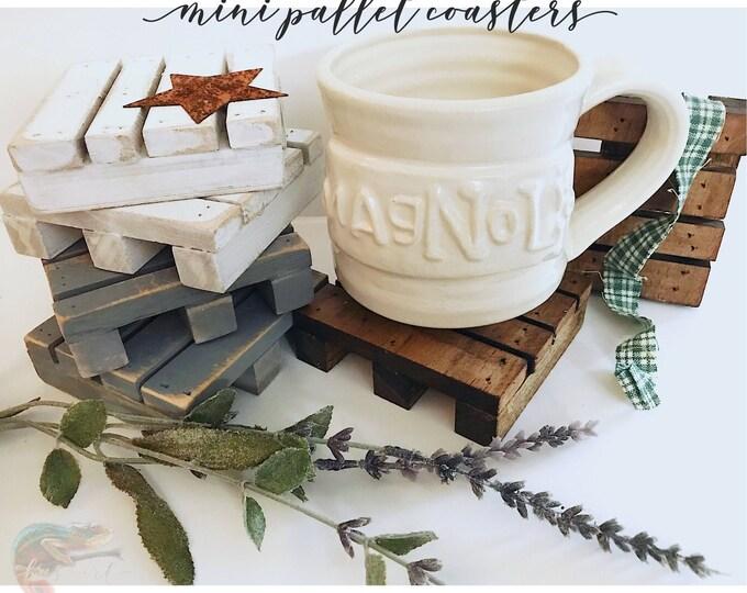 Handmade Mini Pallet Coasters.