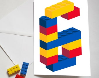 Personalised Building Brick Age Card