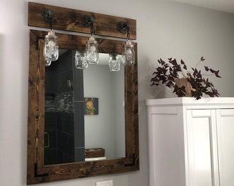 ESPRESSO Mirror, Farmhouse, Wood Frame Mirror, Rustic Wood Mirror, Bathroom Mirror, Wall Mirror, Vanity Mirror, Small Mirror, Large Mirror