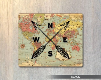 Nautical Compass Vintage Map Mouse Pad - Cardinal Directions Computer or Office Work Station Decor