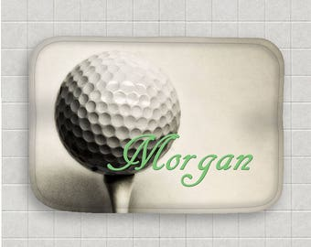 Golf Bath Mat Personalized Bath Mat Golf Ball Bath Mat Microfiber  Mat Sports Decor Non Skid Mat Bathroom Floor Mat Golf Bathroom Decor