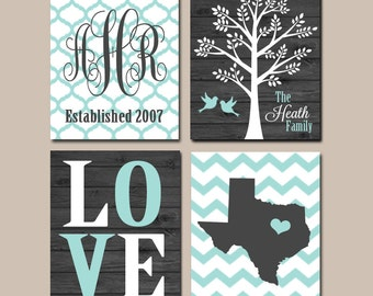 Family Tree State Wall Art, CANVAS or Print, Family Monogram Wall Decor, Personalized Wedding Gift, Wedding Anniversary Gift, Set of 4 Art