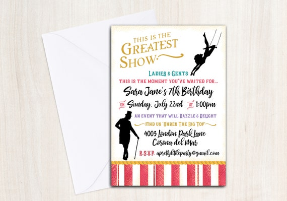 Greatest Showman Birthday Party Invite - Personalized Invitation