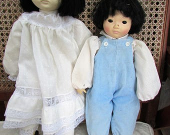 Chinese Sibling Dolls - Gorgeous Little Boy and His Sister from 1980's