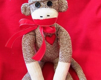 Sock Monkey Toy Doll Stuffed Animal - Traditional - Rockford Red Heel Socks 20""