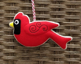 Felt cardinal Christmas ornament
