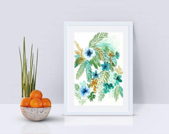 Watercolor Palm Leaves Painting, original watercolor painting, 5x7, tropical decor, tropical art, palm leaf painting, jungle decor, wall art