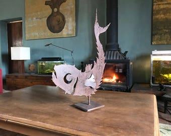 DANCEFISHIRON: Mediterranean fish sculpture in oxidized iron on pedestal