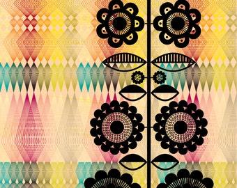Modern Geometric Floral  Art Print