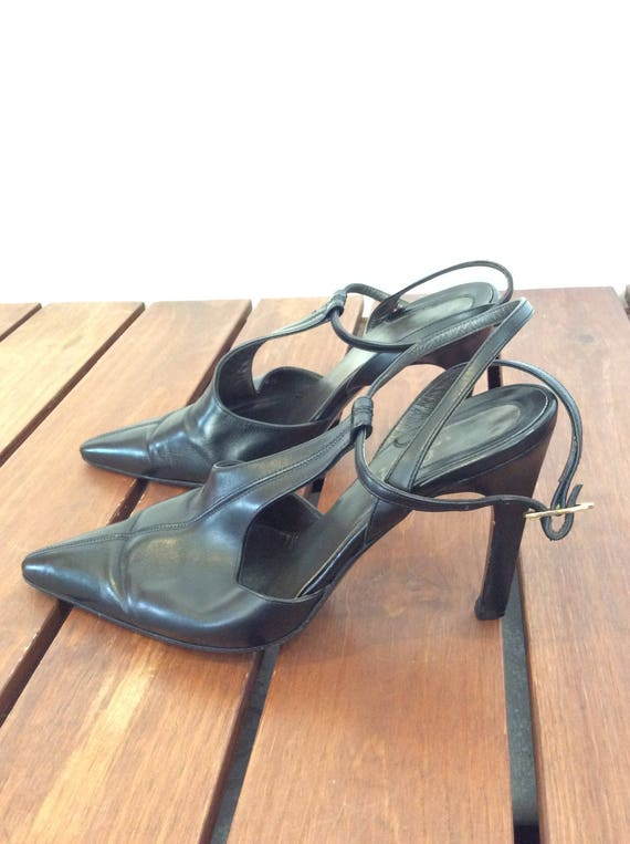 VERSACE Shoes 2 Leather Size High GIANNI 35 Vintage Heel Women Black Authentic 1 Slingbacks Fpg8Fdq