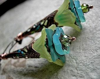 Lime & Aqua Earrings . Fairy Flower Earrings . Long Filigree Wands, Faery Couture, Elksong Jewelry
