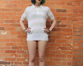 Pastel Striped Vintage NOS 1970s Knit Pullover Top