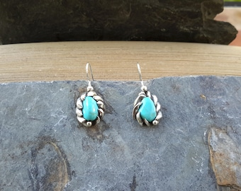 No. 117 Castle Dome Turquoise .950 Sterling Silver Dangle Earrings