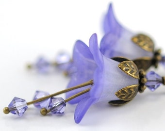 Lavender Flower Earrings. Mothers Day Gift. Tanzanite Melt Flower Blossom Earrings. Floral Jewelry. Romantic Gift for Nature Lover