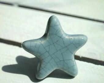 Pale Blue, Pink, White Star Drawer Knob, Children,Nursery, Nautical Decor